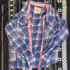 pink white and blue flannel